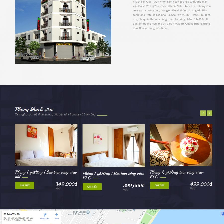 Thiết kế website khách sạn Ciao Quy Nhơn