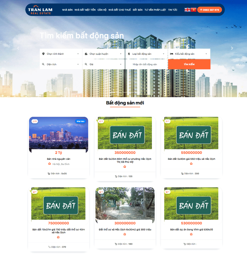 Thiết kế website bất động sản trầnã lâm